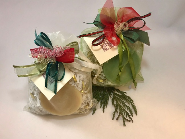 Holiday Sacque with Christmas Soap & Bombe