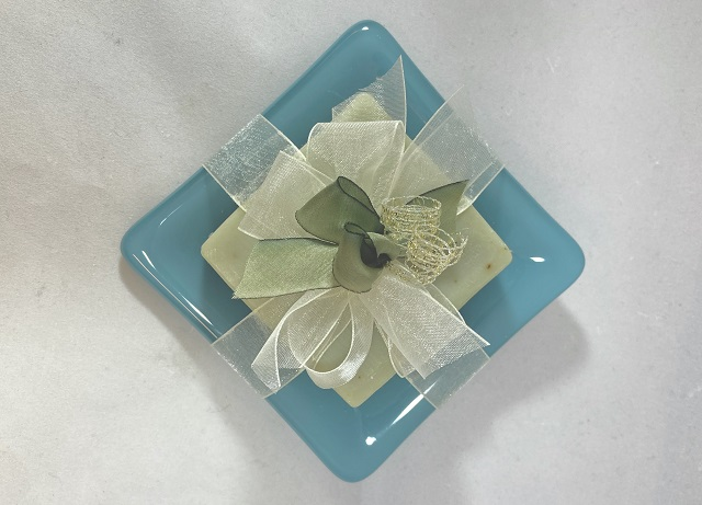 Green Fused Glass Soap Dish With Soap