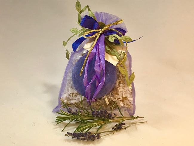Purple Sacque with Rosemary Lavender Soap & Bombe